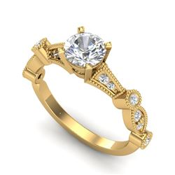 1.03 CTW VS/SI Diamond Solitaire Art Deco Ring 18K Yellow Gold - REF-203A6X - 36973