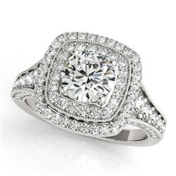 1.65 CTW Certified VS/SI Diamond Solitaire Halo Ring 18K White Gold - REF-180A9X - 26467