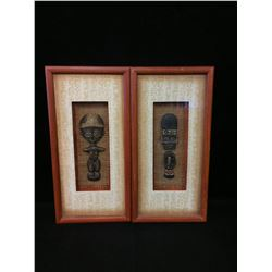 LOT OF 2 INDONESIAN CARVINGS IN SHADOW BOXES