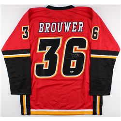 Troy Brouwer Signed Flames Jersey (Beckett COA)