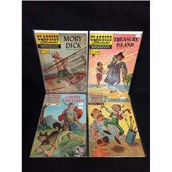 CLASSICS ILLUSTRATED COMIC BOOK LOT (MOBY DICK, TREASURE ISLAND, JOHNNY APPLESEED, PINOCCHIO)