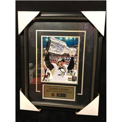 "SIDNEY CROSBY SIGNED 18"" X 20"" FRAMED COLOR PHOTO W/ FRAMEWORTH COA (2008-09 CUP CHAMPS)"