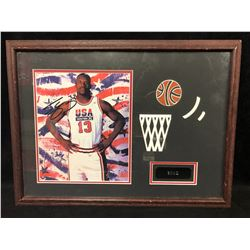 "SHAQUILLE O'NEAL SIGNED 18"" X 14"" FRAMED COLOR PHOTO (TEAM USA)"