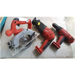 MILWAUKEE CORDLESS CIRCULAR SAW SAWZALL AND DRILL TESTED AND WORKING