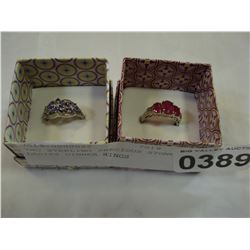 TWO STERLING PRECIOUS STONE LADIES DINNER RINGS