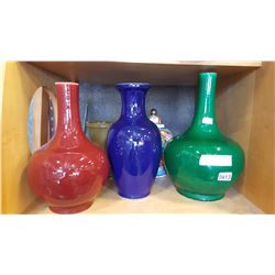 SHELF LOT OF VASES