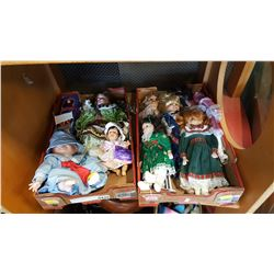 2 TRAYS OF COLLECTABLE PORCELAIN DOLLS