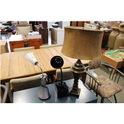 TABLE LAMP AND 2 DESK LAMPS