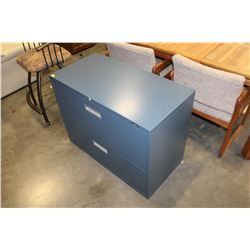 BLUE METAL 2 DRAWER LATERAL FILING CABINET