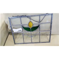 STAINED LEADED GLASS HANGING FLOWER WINDOW