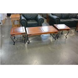 METAL AND WOOD COFFEE AND TWO ENDTABLES SET