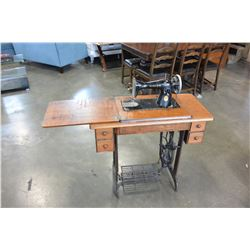 WOOD CASED SINGLE TREADLE BASE SEWING MACHINE