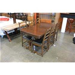 DARK WALNUT DINING TABLE WITH JACKNIFE LEAF AND 6 LEATHER SEAT CHAIRS
