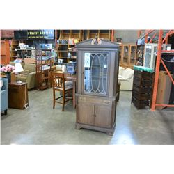 VINTAGE KRUG WALNUT GLASS DOOR DISPLAY CABINET
