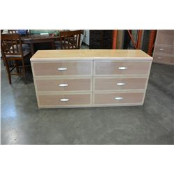 SIX DRAWER GLAZED FINISH MODERN DRESSER