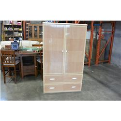 TWO DOOR TWO DRAWER GLAZED FINISH STORAGE UNIT
