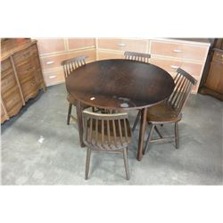 ROUND TABLE AND 4 SPINDLE BACK CHAIRS