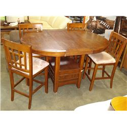 MODERN PUB HEIGHT DINING TABLE AND FOUR MICROFIBRE CHAIRS