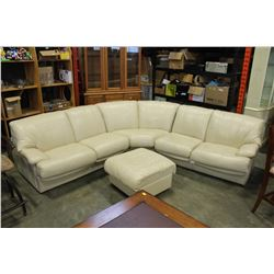 BEIGE LEATHER SECTIONAL AND OTTOMAN