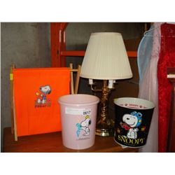 SNOOPY HAMPER AND WASTE BASKETS