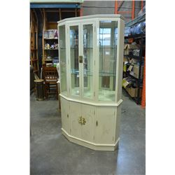 2 PIECE EASTERN WHITE LAQUER CHINA CABINET