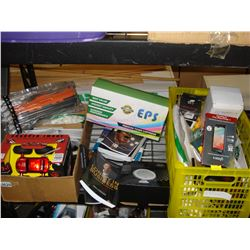 CRATE AND BOX OF ELECTRONICS, BOOKS, AND ESTATE GOODS