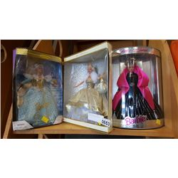 3 BOXED COLLECTABLE BARBIES
