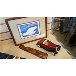 SIGNED BABY SEAL PRINT, NATIVE CARVING, AND CHEVY ROADSTER VEHICLE