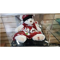 CANADA OLYMPIC BEAR WITH 50 OLYMPIC PINS AND ACRYLIC CASE