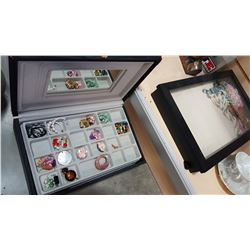 JEWELERY BOX WITH CONTENTS AND DISPLAY CASE WITH CONTENTS