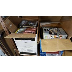 TWO BOXES OF ROCK DVDS