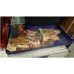 TRAY OF FOREIGN CURRENCY