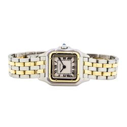 Two-Tone Stainless Steel and Gold Ladies Cartier Panthere Wristwatch