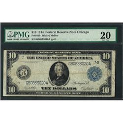 1914 $10 Federal Reserve Note Chicago Fr.9131b PMG Very Fine 20