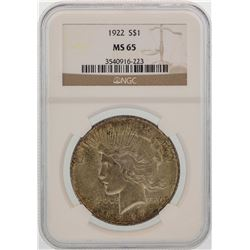 1922 $1 Peace Silver Dollar Coin NGC MS65