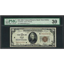 1929 $20 Federal Bank of Dallas Fr.1870-K Note PMG Very Fine 30