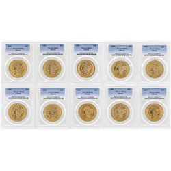 Lot of (10) 1907 $20 Liberty Head Double Eagle Gold Coins PCGS MS62