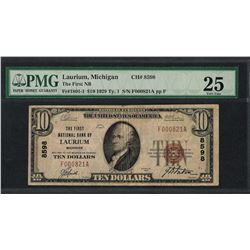 1929 $10 National Currency Note Laurium, MI CH# 8598 PMG Very Fine 25