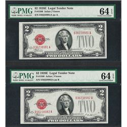 Lot of (2) Consecutive 1928E $2 Legal Tender Notes PMG Choice Uncirculated 64EPQ