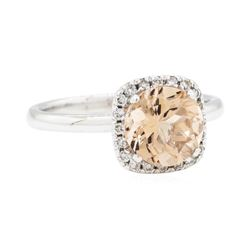 14KT White Gold 1.87 ctw Morganite and Diamond Ring