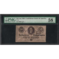 1864 50 Cents Confederate States of America Note PMG Choice About Uncirculated 5