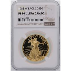 1988-W $50 American Gold Eagle Coin NGC PF70 Ultra Cameo