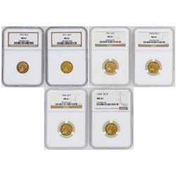 Lot of (6) $2 1/2 Indian Head Quarter Eagle Gold Coins NGC MS61