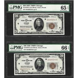 (2) Consec. 1929 $20 Federal Reserve Bank Chicago Notes PMG Gem Uncirculated 65/
