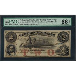 1857 $2 Western Exchange F&M Insurance Co. Obsolete Note PMG Gem Uncirculated 66