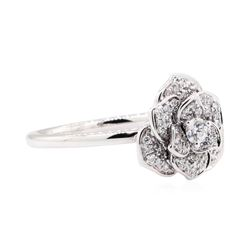 18KT White Gold 0.24 ctw Diamond Flower Motif Ring