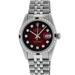 Rolex Men's Stainless Steel Red Vignette Diamond & Ruby Datejust Wristwatch