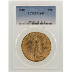 1920 $20 St. Gaudens Double Eagle Gold Coin PCGS MS63
