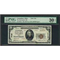 1929 $20 National Currency Note Columbus, Ohio CH# 7745 PMG Choice Very Fine 30E