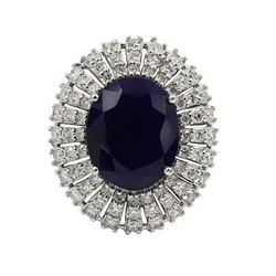 14KT White Gold 10.18 ctw Oval Cut Blue Sapphire and Diamond Wedding Ring